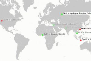 Doğum ve ölümlerin gerçek zamanlı haritası