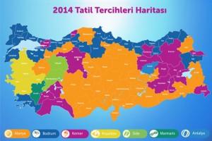 2014 tatil tercihleri haritası
