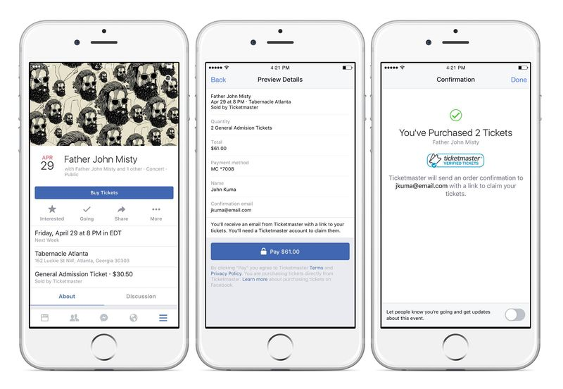 Ticketmaster Facebook üzerinden bilet satmaya başlıyor