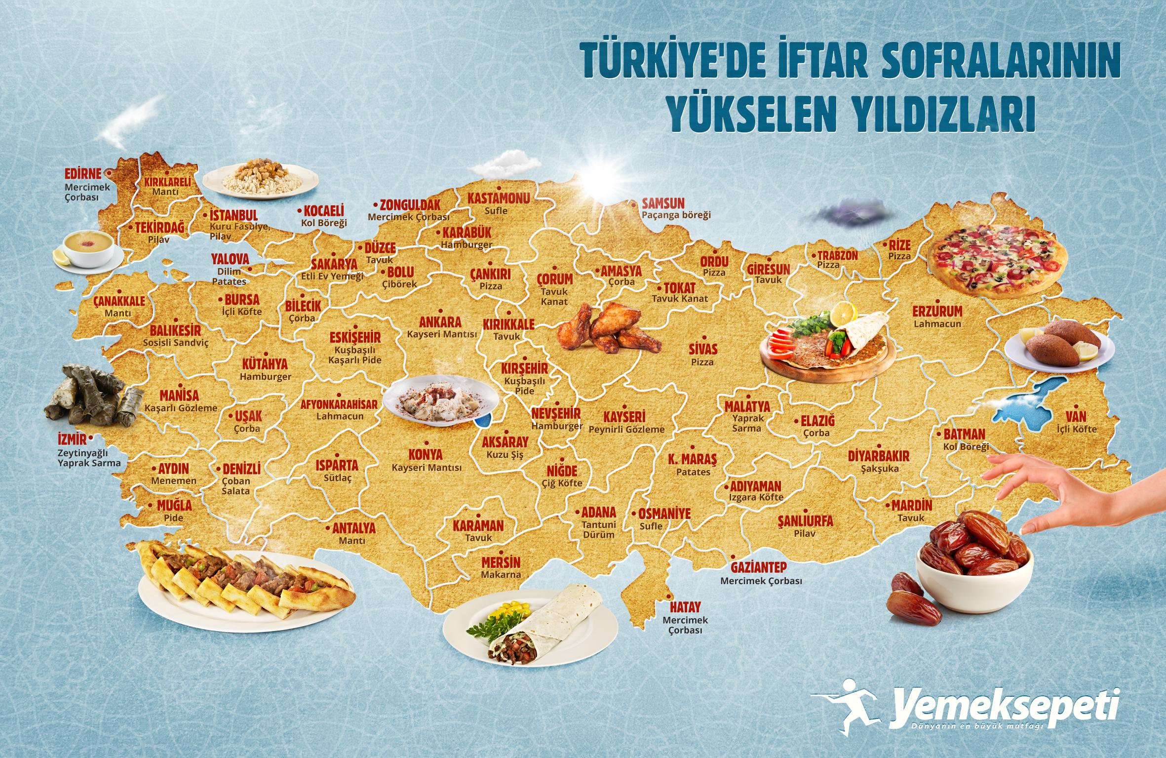 Yemeksepeti'nden iftar lezzetleri haritası