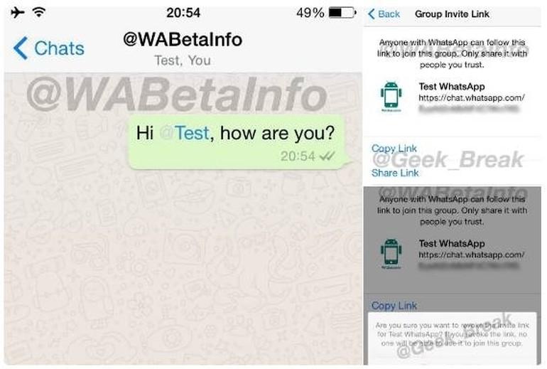 WhatsApp grup konuşmalarına mention özelliği geliyor
