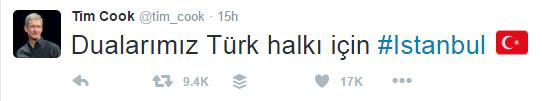 Tim Cook'tan Türkçe tweet'li başsağlığı mesajı
