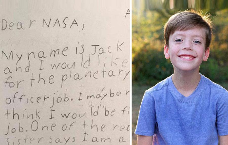 9 yaşındaki çocuğun NASA'ya yaptığı iş başvurusuna cevap gecikmedi