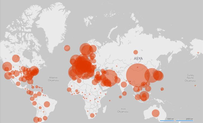 Microsoft'tan coronavirüs salgınını takip edebileceğiniz yeni bir harita